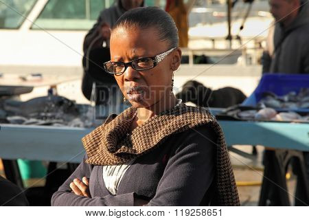 France, Marseille -november 19, 2015. An Unidentified Woman At The Old Port Of Marseille (vieux-port