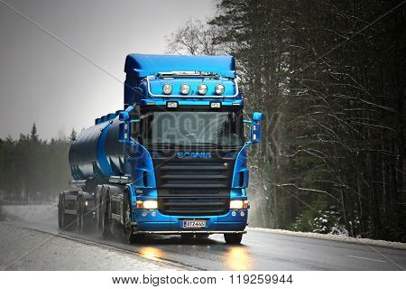 Blue Scania R500 Tank Truck Trucking In Fog And Rain