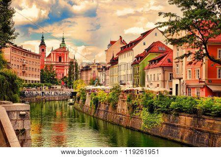 Ljubljana, Slovenia -  July 28, 2014: Ljubljana -slovenia - City Centre, View On The River. Ljubljan