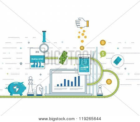 Concepts for business analysis and planning, financial strategy. Investment business.