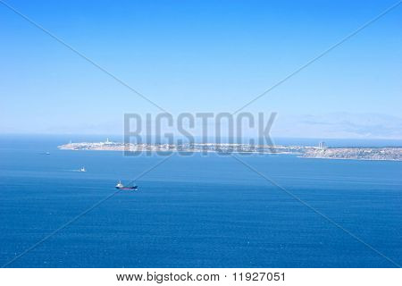 View from Dardanelles in Turkey