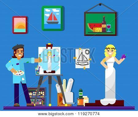 painter at work, painting model in studio