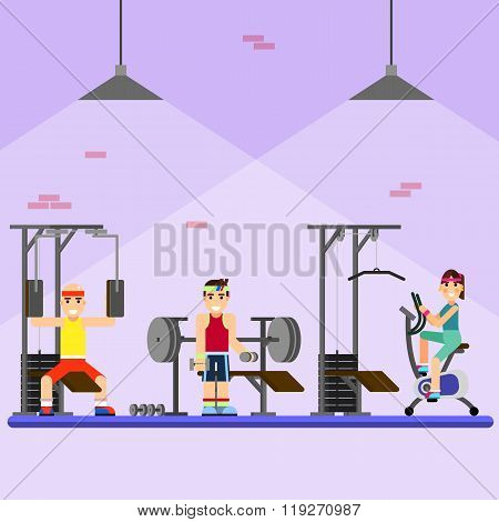 People engaged in the modern gym. vector illustration.