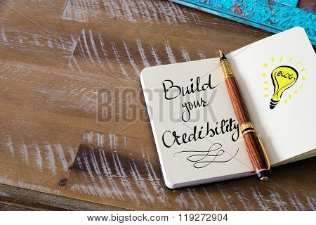 Handwritten Text Build Your Credibility