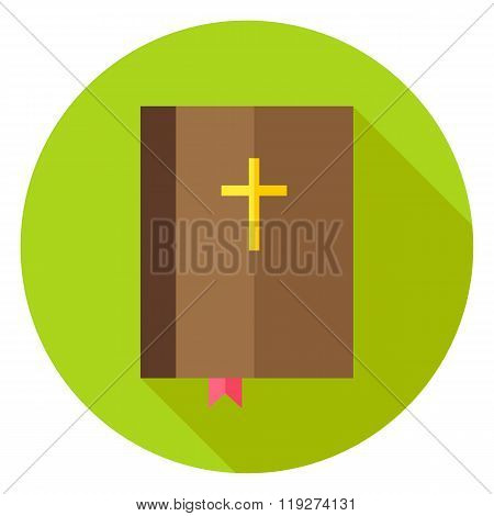 Christian Bible Book With Bookmark And Cross Circle Icon