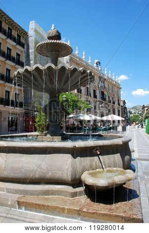 Plaza Nueva fountain, Granada.