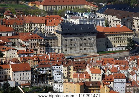 Prague, Czech Republic - April 24, 2013: The Aerial View Of Hradcany From Petrin Hill. Prague, Czech