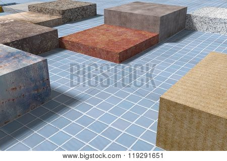 Tiled Glazed Floor Made Of Volume Cubes Of Different Colors