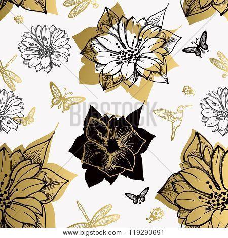 Seamless pattern flowers butterflies black background.