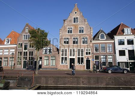 Amsterdam,the netherlands - 10 Oktober  ,2015:Old house on the habour of the Dutch historic town Hoorn. This city is populair by tourists