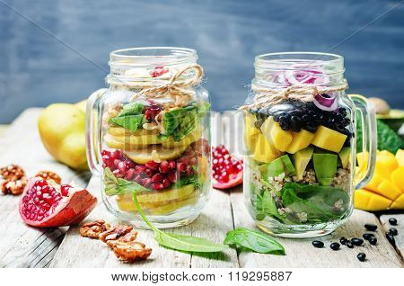 Homemade Healthy Salads With Vegetables, Fruits, Beans And Quinoa In Jar