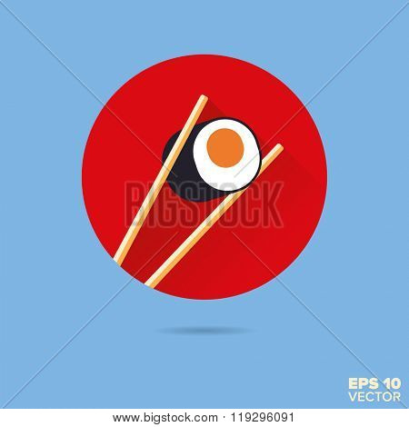 salmon maki sushi with chopsticks flat design vector icon