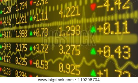 Stock Market Ticker Wall In Yellow
