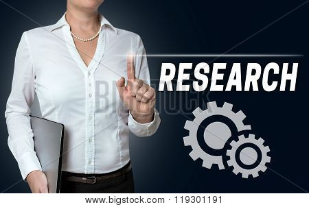 Research Touchscreen Operated By Businesswoman