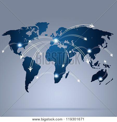 World Aviation Map