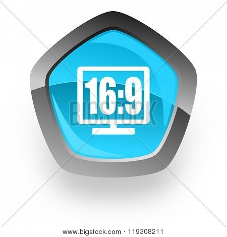 16 9 display blue metallic chrome web pentagon glossy icon
