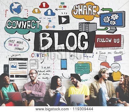 Blog Social Media Networking Content Blogging Concept poster