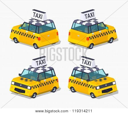 Yellow taxi hatchback