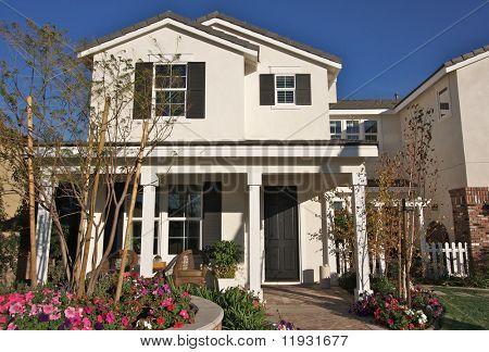 Abstract of New Home Construction Facade & Porch.