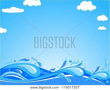 Ocean waves in summer day