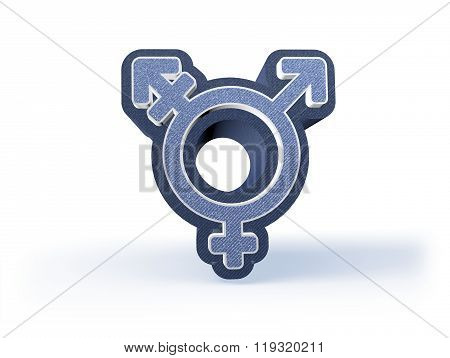 Unisex Shopping Icon In Blueish Denim Look