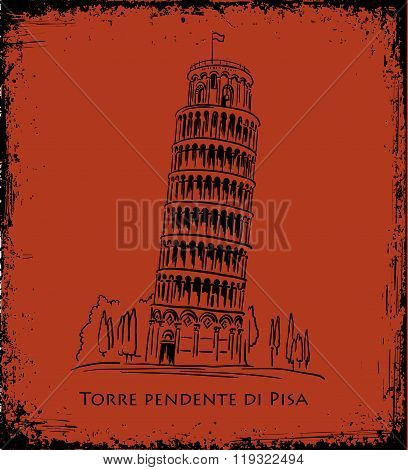 Piza Tower, vector illustration, travel concept