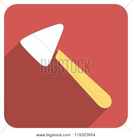 Neurologist Hammer Flat Rounded Square Icon with Long Shadow