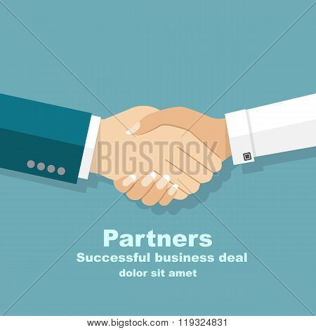 Handshake men and women. Handshake of business people partners businessmen and businesswomen. Hand shaking meeting agreement. Vector flat design. Symbol of successful transaction. poster