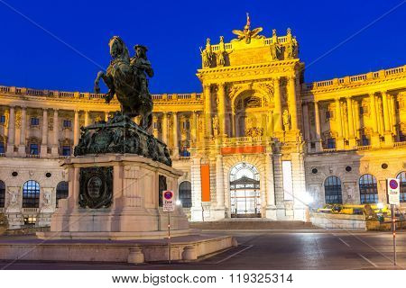 VIENNA, AUSTRIA - JUL 24: Hofburg Palace was home for the most powerful people in European and Austrian Habsburg. Statue of Emperor Joseph II, evening view; July 24, 2015 in Vienna, Austria.