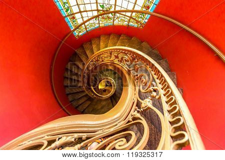 HO CHI MINH CITY, VIETNAM - OCT 11. Interior spiral staircase in Ho Chi Minh City Museum of Fine Arts at Ho Chi Minh City, Vietnam on Oct 11, 2015. This is the second museum in the Vietnam.