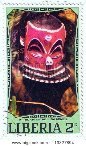 Liberia - Circa 1977: A Stamp Printed In Liberia Shows African National Ritual Mask (bapende), Circa