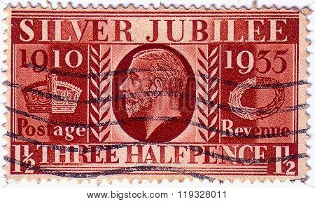 United Kingdom - Circa 1935: A Postage Stamp Printed In The United Kingdom Shows Silver Jubilee Of K