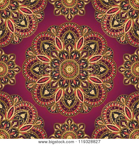 Pattern Of Mandalas For Textile.