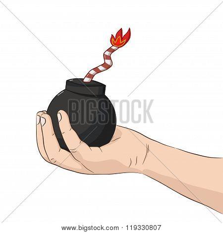 Child's Hand Holding Bomb