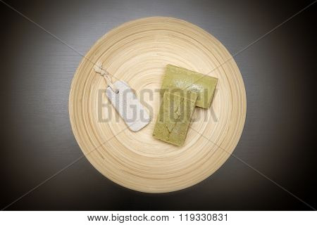 Handmade Soaps On A Wooden Plate