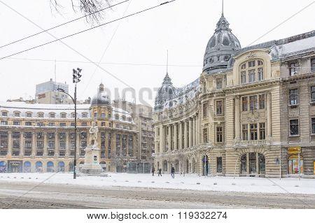 Bucharest, Romania - January 17: University Square On January 17, 2016 In Bucharest, Romania. Buchar