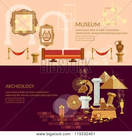 Museum Horizontal Banner Ancient Civilizations Science Exposition