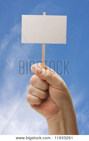 Blank Sign In Fist on Sky Background