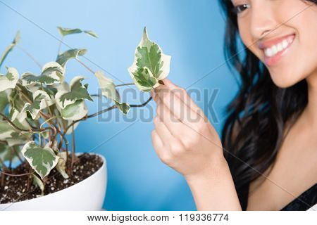 Woman looking at leaf