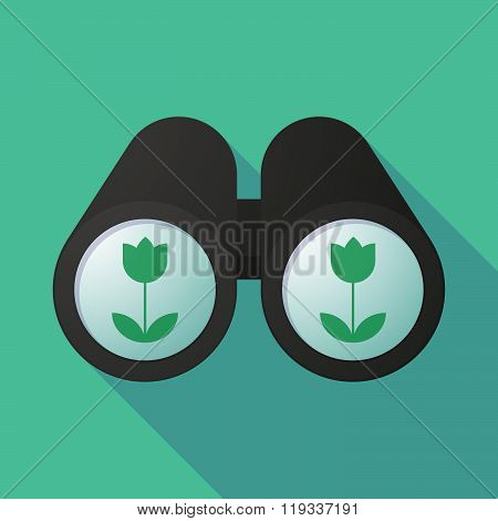 Illustration Of A Binoculars Viewing A Tulip