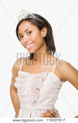 Young woman wearing a tiara