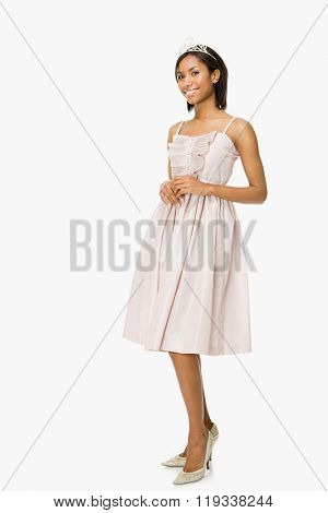 Young woman in prom dress