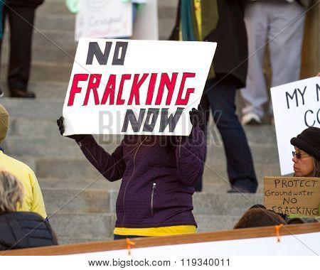 Boise, Idaho/usa - February 22, 2016: Protester In Boise, Idaho Asking Us To Stop Fracking