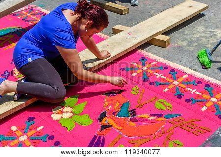 Making Dyed Sawdust Holy Week Carpet, Antigua, Guatemala