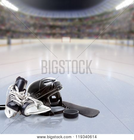 Hockey Arena With Equipment On Ice And Copy Space