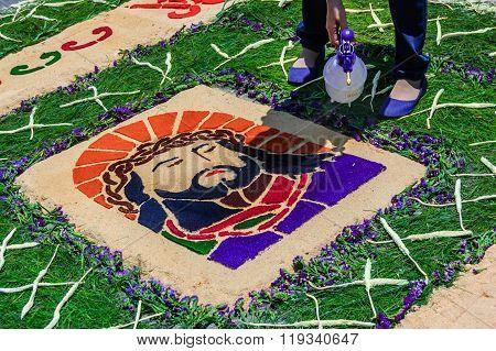 Spraying Water On Holy Week Carpet, Antigua, Guatemala