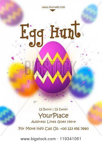 Creative Eggs decorated Pamphlet, Banner or Flyer design for Easter Egg Hunt celebration.