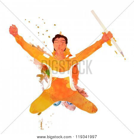 Creative illustration of a player holding wicket stump on grey background for Cricket Sports concept.