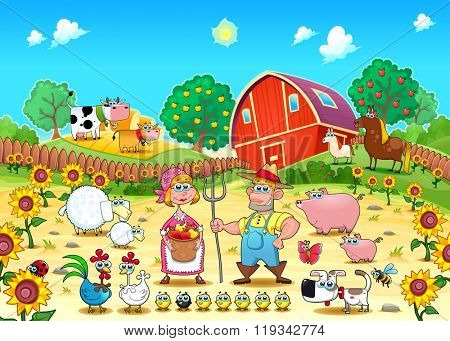 Funny farm scene with animals and farmers . Cartoon and vector illustration