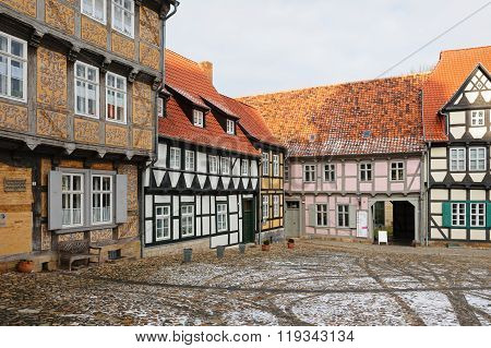 QUEDLINBURG, SAXONY-ANHALT/ GERMANY - FEBRUARY 18, 2006: Corner of Quedlinburg old center
